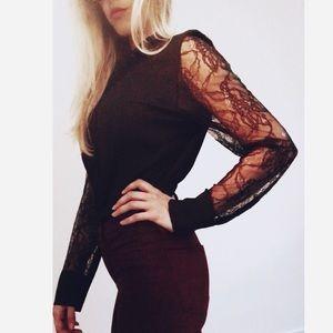 Calvin Klein lace sleeve button up blouse